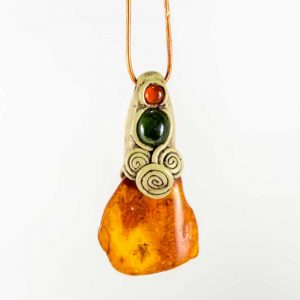 Rare Baltic Amber with an insect inclusion, Jade and Carnelian.