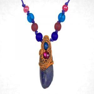 Small Tanzanite Pendant with Abalone and Lapis Lazuli