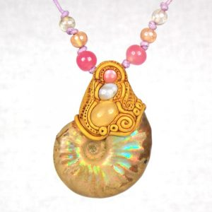Medium Ammonite with Blue Lace Agate, Pink Cats Eye and Yellow Calcite