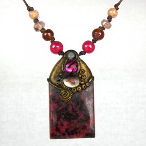 Large Rhodonite Pendant with Mother of Pearl and Pink Abalone